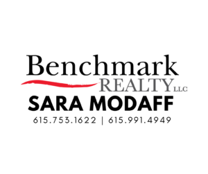Benchmark Realty logo with Sara Modaff's name below and her contact number is 615-753-1622 or 615-991-4949